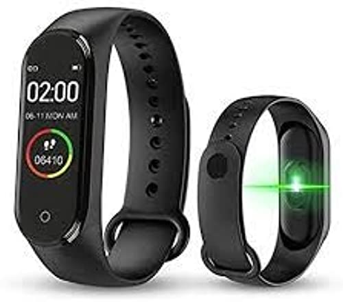 M4Plus Bluetooth Wireless Smart Fitness Band for Boys Men Kids Women Sports Watch Compatible with Xiaomi Oppo Vivo Mobile Phone Heart Rate Calories Count