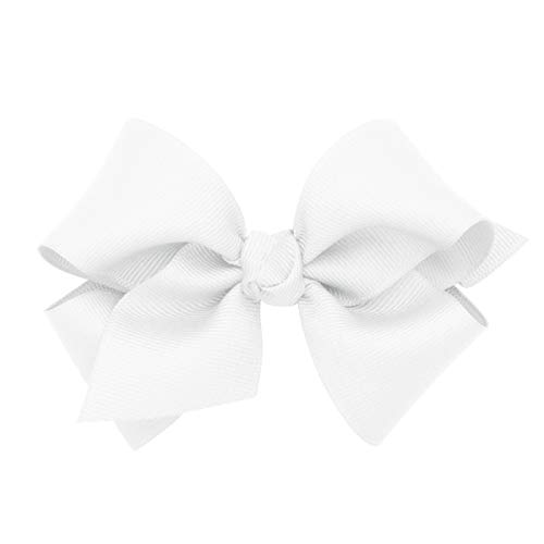 Wee Ones Baby Girls' Small Classic Grosgrain Hair Bow on a WeeStay Clip w/Knot Wrap Center - White