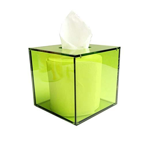 AXUHENGO Servilleteros faciales Cuadrados, Cajas para pañuelos Desechables para decoración del hogar y la Oficina Verde Fluorescente