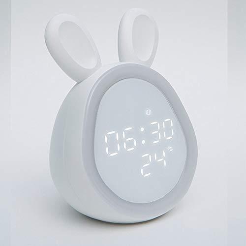 Clock Time para Despertar El Reloj De Alarma para Los Niños, El Entrenador De Sueño para Niños, Los Niños Se Despiertan La Luz, La Máquina De Sonido del Sueño (Color : White)