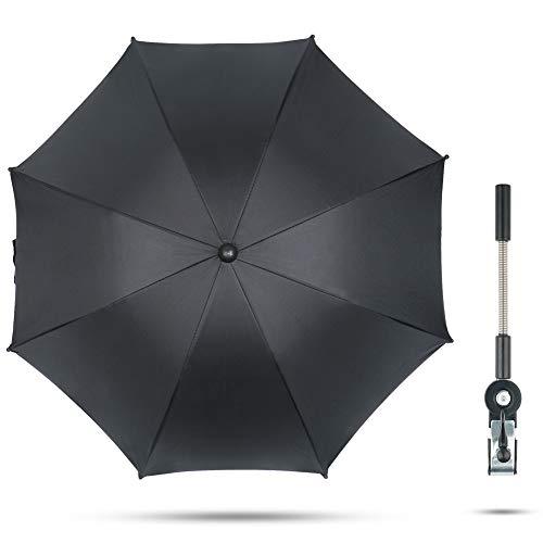 Fengzio Universal Sonnenschirm für Kinderwagen & Buggy 75 cm Durchmesser Kinderwagen Regenschirm mit Sonnenschutz und Regenschutz funktional UV Schutz 50+ und 360°Drehung - Schwarz