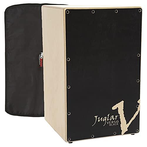 Pack Cajón Flamenco Adulto Juglar Verso Black + Funda | Cuerpo en Abedul de 10mm. Tapa golpeadora en Abedul en color negro de 3,5mm. Sistema de afinación automática en paralelo (Negro)