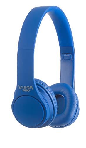 Vieta Pro Wave – Auriculares inalámbricos (Bluetooth, radio FM, micrófono integrado, entrada Auxiliar, reproductor Micro SD, plegables, autonomía 12 horas) azul