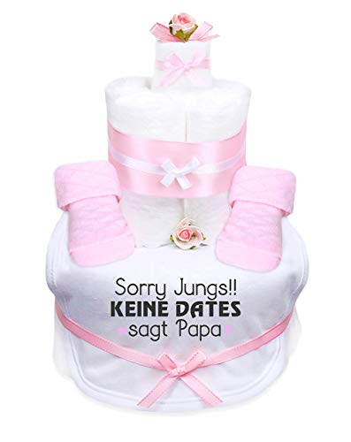 TrendMama Windeltorte Mädchen,Babysocken + Lätzchen handbedruckt mit coolem Spruch -Sorry Jungs!! Keine Dates sagt Papa-Handmade