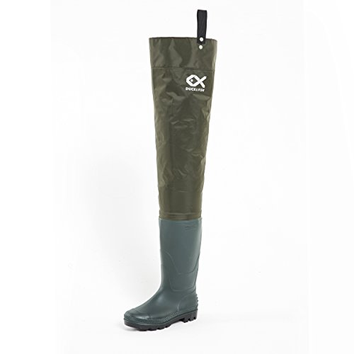 Duck and Fish Green Fishing Wader Hip Boots with Cleated Outsole (10 M US Men)