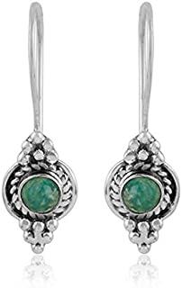 Amazonite Gemstone Oxidized Designer 925 Silver Earrings Handmade Ethnic Jewelry