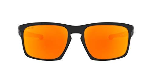 Oakley Herren Sliver OO9262 Sonnenbrille, Schwarz (Polished Black / Fire Iridium), 57