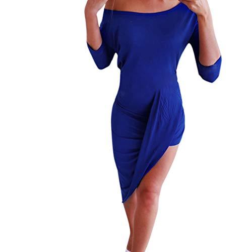 Damen Kleider Sommer Lange Hülsen O-Ausschnitt Bedruckt Weste Sexy Kleider Damen Strandkleid Nähte Kleid Polyester Ärmel Gabel Eröffnung Trägerloses Kleid