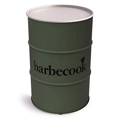 barbecook Edson Holzkohlegrill Fass-Form Tonne Verchromter Grill-Rost verstellbar Ø 47.5 Garten Höhe 89-cm, grün