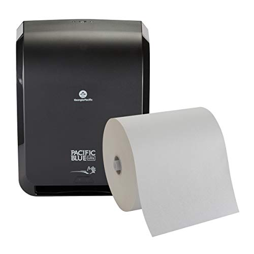 """Pacific Blue Ultra 8"""" High-Capacity Automated Touchless Paper Towel Dispenser Starter Kit by GP PRO (Georgia-Pacific), Black Dispenser (59590) 1 White Towel Roll (26491)"""