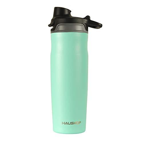 HAUSHOF Botella de Agua, Vaso Termico Sin BPA 590 ml / 20 oz, Doble Pared, botella agua acero inoxidable 18/8, botella deportiva, para Gym, Yoga, Ciclismo y Viajes