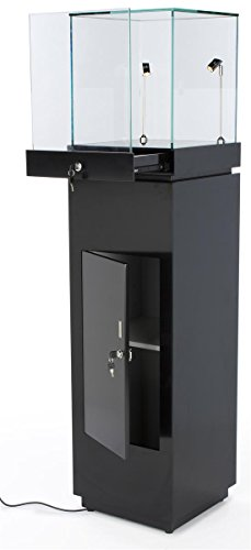 """64"""" Glass Showcase with Pull-Out Drawer and Locking Storage Cabinet, Includes 2 LED Spotlights, Pedestal Display Case for 360 Degree Viewing - Black"""