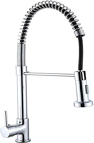 WSVULLD Kitchen Mixer Tap Single Handle High Arc Pull Out Kitchen Taps, Single Lever Solid Brass Tap Pull Down Sprayer Chrome Monobloc Swivel Spout, 360 Degree Rotation, 2 Water Modes - Stream & Spray