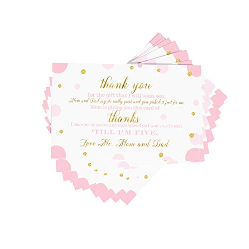 Pink Gold Baby Shower Thank You Postcard (15 Pack) Girls Party Supplies - Little Princess - Twinkle Little Star - A6 Note Cards Only - Eco-Friendly