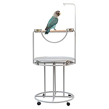 ZWW Pieds pour Cages À Oiseaux, Acier Inoxydable Grand Support De Perchoir De Formation avec Bol d'alimentation Roue Universels pour Les Perroquets Moyens Grands