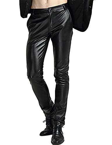 Yeokou Men's Skinny Straight Leg Tapered Pu Faux Leather Motorcycle Biker Pants (34, Black)