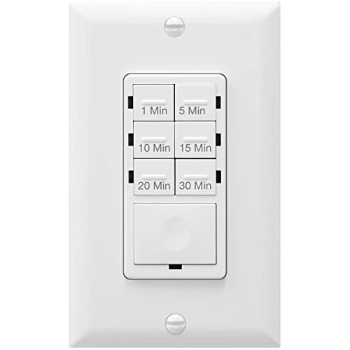 ENERLITES Countdown Timer Switch for bathroom fans and household lights, 1-5-10-15-20-30 Min Settings with Manual Override, Always On Blue LED, Neutral Wire Required, UL Listed, HET06A-R, White