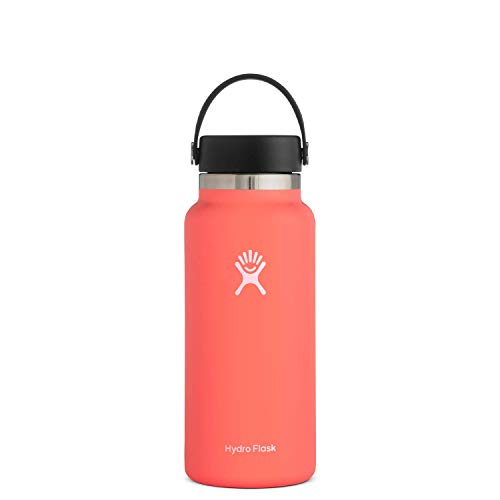 Hydro Flask Water Bottle - Stainless Steel & Vacuum Insulated - Wide Mouth 2.0 with Leak Proof Flex Cap - 32 oz, Hibiscus