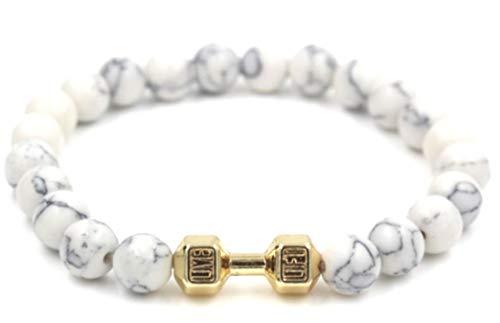 Limitless Aesthetics Live & Lift Dumbbell Bracelet - White Turquoise (Gold)