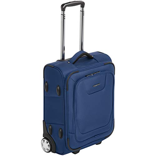 Amazon Basics – Maleta blanda expansible apta para cabina de pasajeros con candado TSA y ruedas, 48 cm, azul