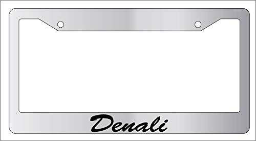 Yohoba Chrome Metal License Plate Frame Cursive Denali