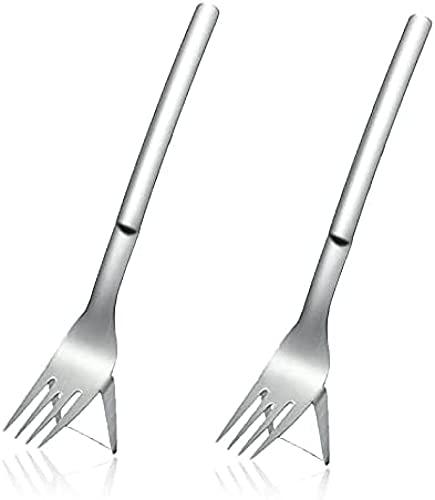 Affettatrice a forchetta per anguria 2 in 1, affettatrice per anguria con forchetta, artefatto di anguria tagliata, divisore per anguria con coltello a melone in acciaio inossidabile 2pcs
