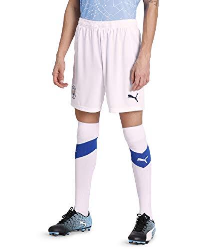 PUMA Pantaloncini da calcio da uomo 20/21 Manchester City FC Replica, Uomo, Pantaloncini, 757110, Puma bianco peacoat, L