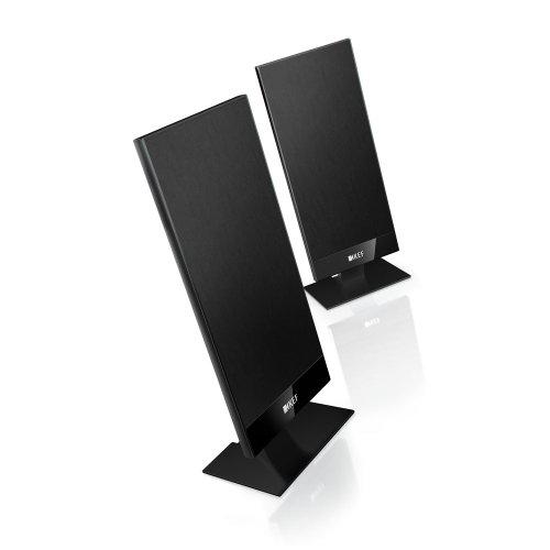 KEF T101 schwarz Lautsprecher flach ( 10-100Watt, Surround, Stereo, Satellit, 3,5cm dick, Wandhalterung / Wandmontage , incl. Tischfuss ) Paar