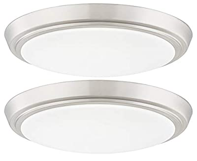 Gruenlich LED Flush Mount Ceiling Lighting Fixture, 11 Inch Dimmable 19W (125W Replacement) 1200 Lumen, Metal Housing, ETL and Damp Location Rated, 2-Pack (Nickel Finish-5000K)