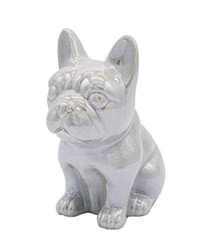 Nayothecorgi Ceramic Dog Statue - Sitting French Bulldog (Metallic Dark Grey)
