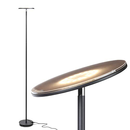 Image of Brightech Sky LED Torchiere Super Bright Floor Lamp - Contemporary, High Lumen Light for Living Rooms & Offices - Dimmable, Indoor Pole Uplight for Bedroom Reading - Black: Bestviewsreviews