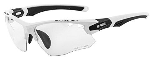 R&R Multi-Sportbrille Crown | Sonnenbrille | Radbrille | Skibrille mit Wechselgläser oder selbsttönend (weiß/schwarz, Selbsttönend)
