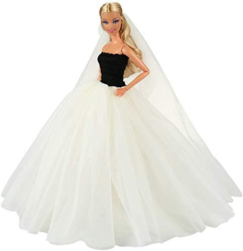 barbie sposa Miunana Abito Vestito da Sposa Grande Lussuoso Spalle Scoperte + Velo per 11..5 Pollci 28 - 30 cm Bambola (Beige)