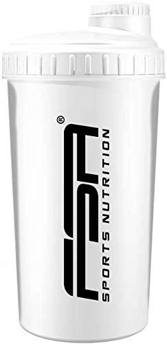 Shaker 700 ml, Preparador de batidos de proteínas y BCAA, libres de BPA y a prueba de vertidos, de la marca de deporte profesional FSA Nutrition - Blanco