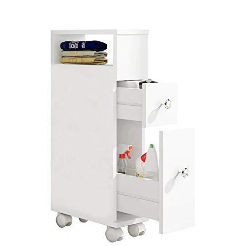 ease Mueble de baño con Ruedas con 2 cajones Carro de Almacenamiento de Cocina de Madera Mueble de baño 15 × 33 × 66.5 CM Blanco