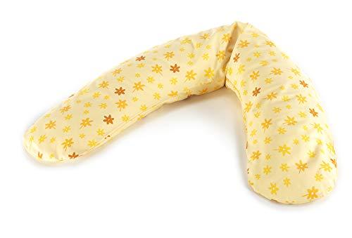 Theraline 52024102 le confort Coussin d'allaitement avec housse Fleurs, 180 cm, Jaune