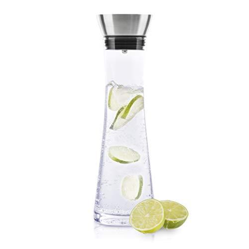 HI Wasserkaraffe Glas (1 Liter) - Glaskaraffe mit Deckel und Ausgießer, Wasserflasche Glas und Edelstahl, Karaffe für Wasser, Wein & Co