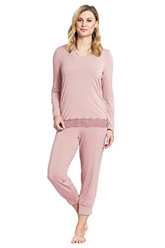 Rösch Damen Pyjama mit Spitzendetails Harmony, New Romance, 1193566 42 Tea Rose