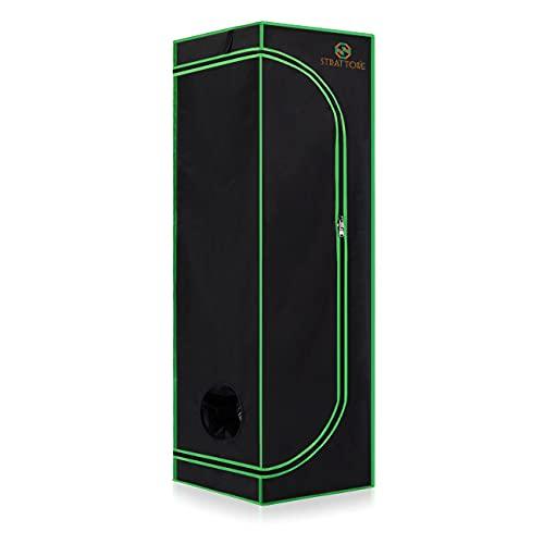 Strattore Armario de Cultivo/Grow Tent 60x60x180 cm - Hidroponía Lona Resistente a Prueba de luz y de rasgaduras - Impermeable Crecimiento rápido Cultivo de Plantas en Interiores - in Negro Verde