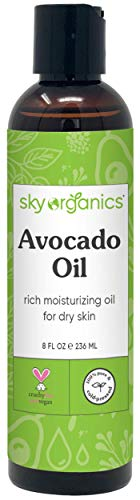 Avocado Oil by Sky Organics (236 ml) 100% Pure Natural & Cold-Pressed Avocado Oil - Ideal for Massage Cooking and Aromatherapy - Rich in Vitamin E & Oleic Acid