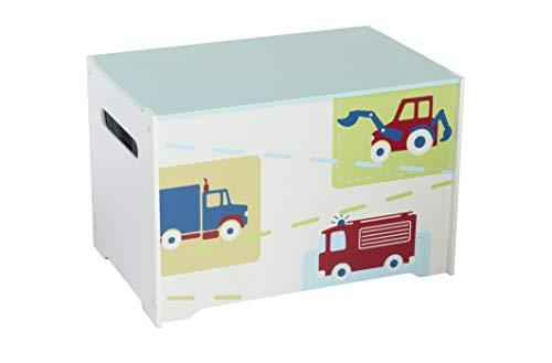 Worlds Apart Juguetero con diseño de vehículos, Madera, Blanco, 39.50x59.50x39.50 cm