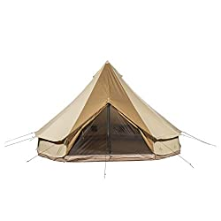 TETON Sports Sierra 12 Canvas Bell Tent; Waterproof 6 Person Family Camping Tent, Brown, New Sierra 12 Canvas Tent/ 12' x 12' (2012)
