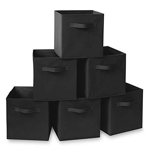 Casafield Set of 6 Collapsible Fabric Cube Storage Bins, Black - 11' Foldable Cloth Baskets for Shelves, Cubby Organizers & More