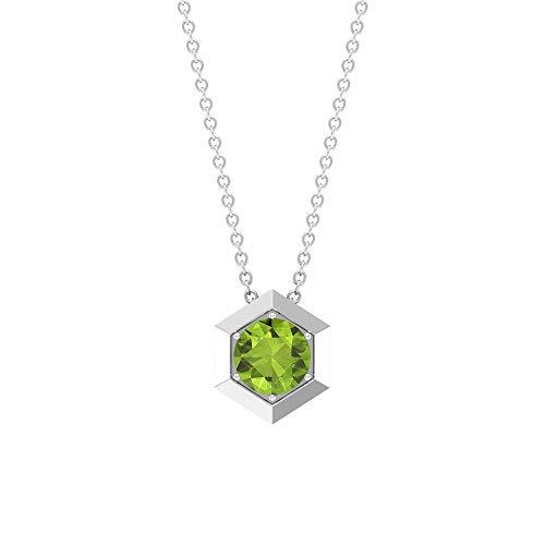 Rosec Jewels 10 quilates oro amarillo redonda Green Peridot