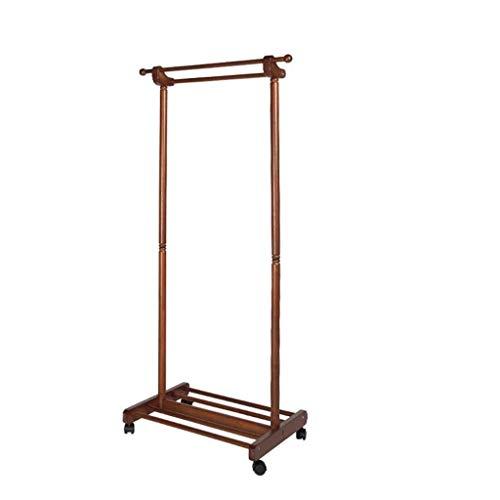 Kapstokken Kapstok Planken Hanger met wielen opslag Rack Floor Hanger Slaapkamer Woonkamer Kapstok, L60 * W45 * H155CM (Kleur: Bruin) LQH (Color : Honey Color)