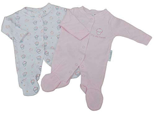 con Etiquetas Tiny Prematuro Prematuro bebé niña Cupcake 2 Pack de Pijamas Rosa Rosa 2.27-3.63 Kgs