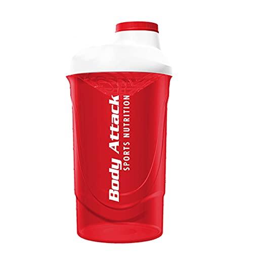 Body Attack Coctelera de proteínas, capacidad de 600 ml (negro)
