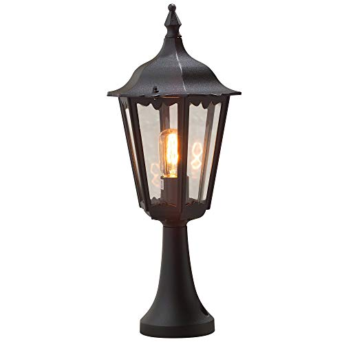 Konstsmide Firenze 7214-750 Sokkellamp B: 23,5 cm D: 23,5 cm H: 55 cm / 1x100 W / IP43 / gelakt aluminium/matzwart