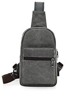 Men's Bags Crossbody Bags - Men Canvas External USB Charging Function Crossbody Bag Retro Sports Chest Bag - Gray