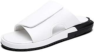 Ranipobo Sandal Casual Slip On Style Microfiber Comfortable and Light Shock Absorption Men for Men (Color : White, Size : 5.5 UK)